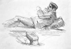 Franco Resecco - Uomo coricato. Studio dal vero