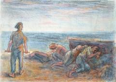 Franco Resecco - Pescatori dormienti e barca
